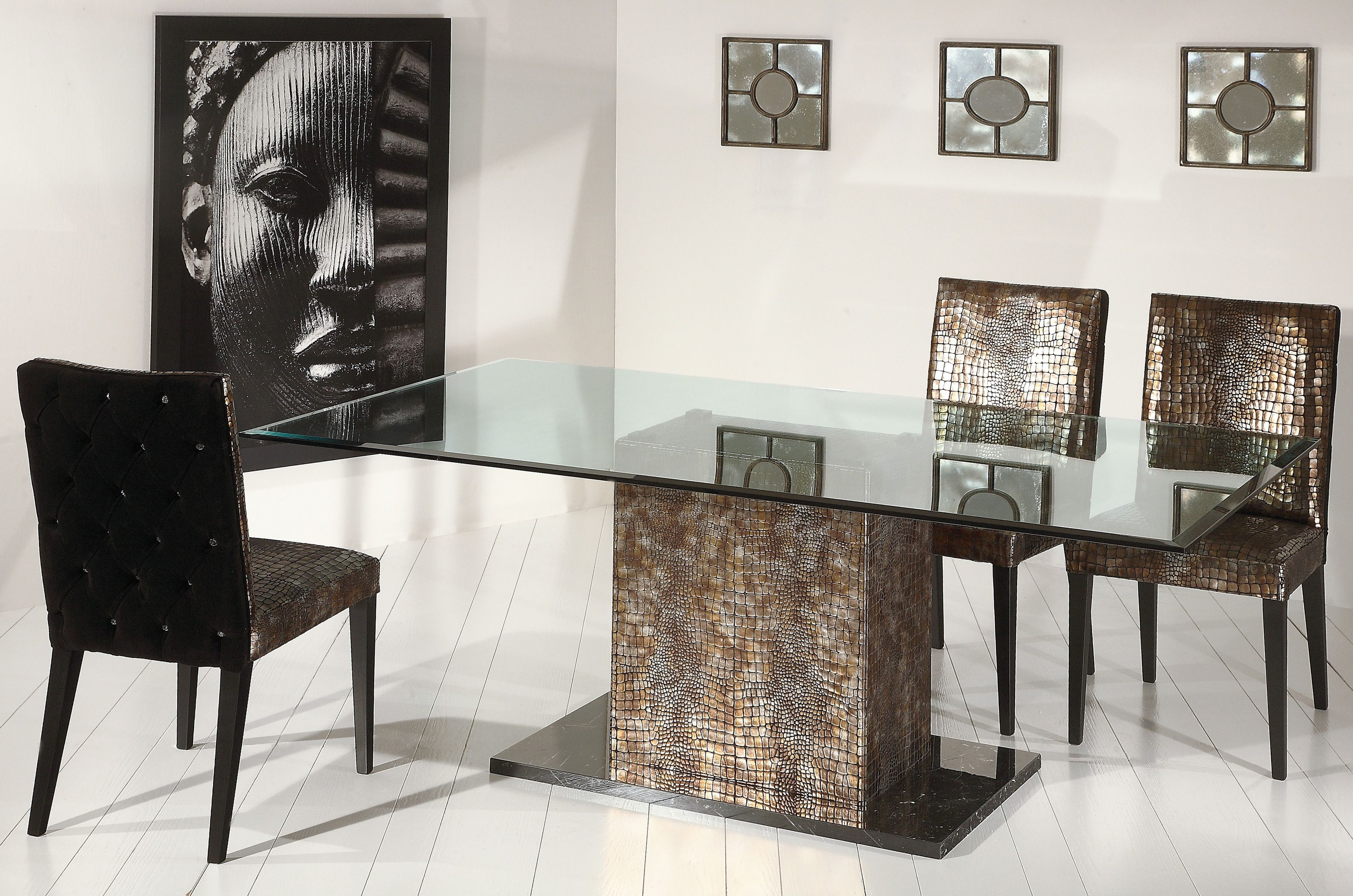 Stone International dining table. | Glass dining room ...