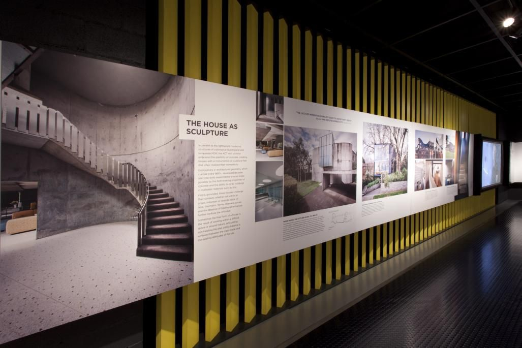 This is a photograph of a strip of exhibition panels with