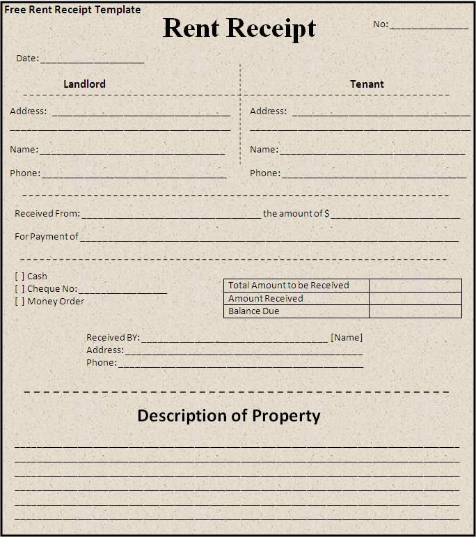 free house rental invoice – Rent Receipt Template Doc