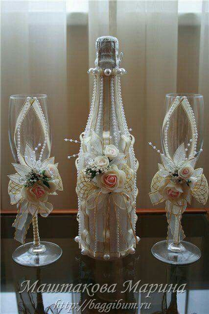 Decoraci n de botellas de vino para los novios boda - Decoracion de botellas ...