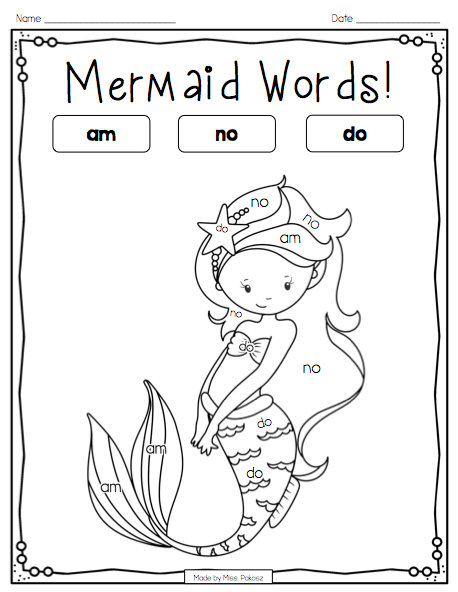 Mermaid Color-By-Sight-Word **EDITABLE** Primer Edition