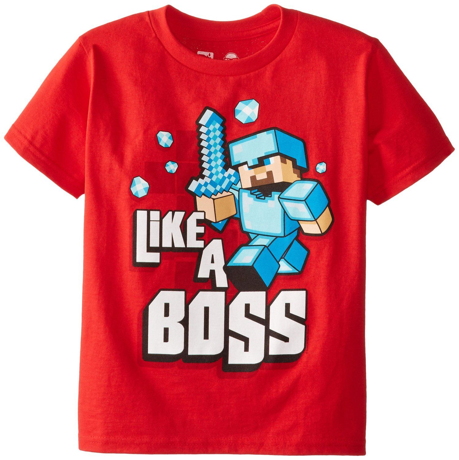 Amazon.com: Jinx Minecraft Boy\u0027s Like A Boss Youth T-Shirt ...