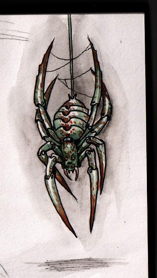 araignée mecanique aquarelle sur papier a grain #araignée mecanique #mechanical spider