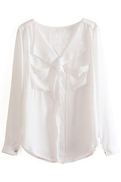 V-neck Pocketed White Shirt