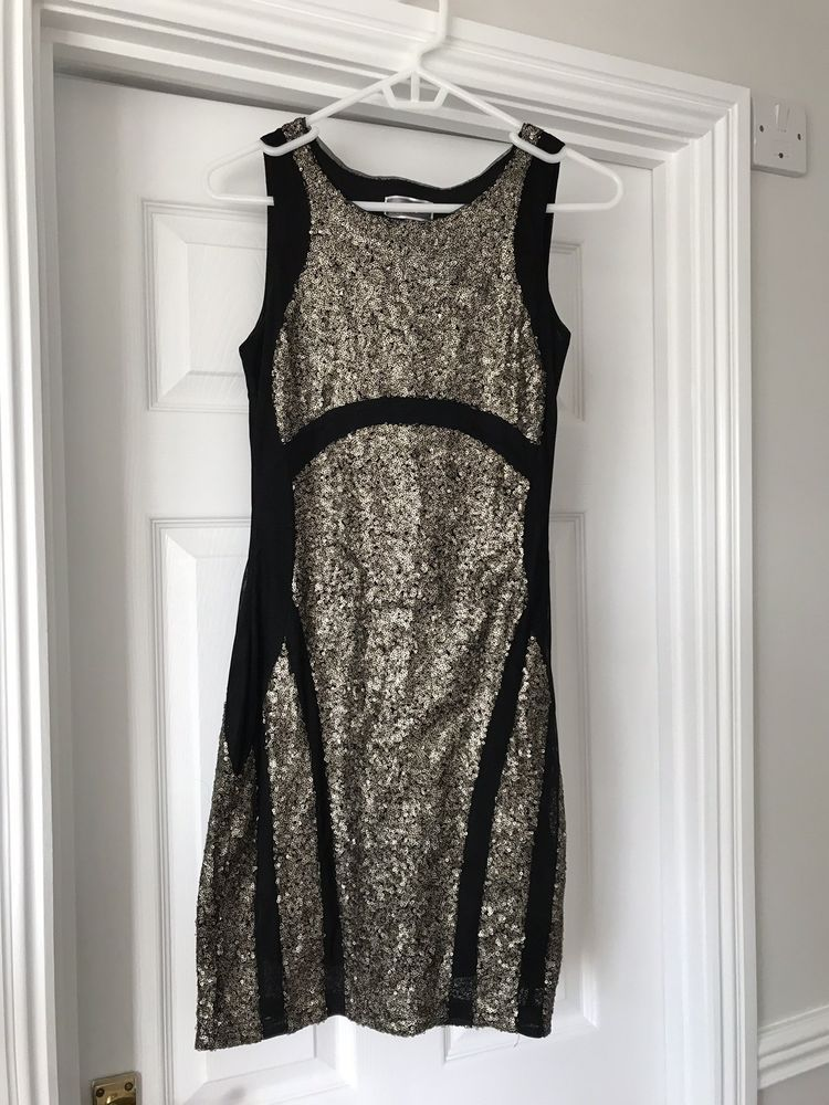 43a551ad189b Black Gold Sequin Christmas New Year Party Lipsy Bodycon Fitted Dress S 8 10  #fashion #clothing #shoes #accessories #womensclothing #dresses (ebay link)