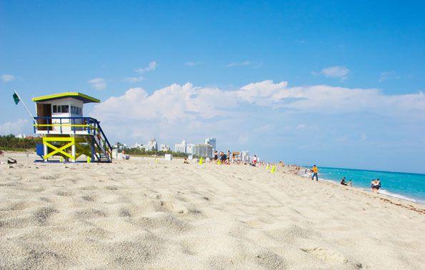 Het strand van Miami in Florida
