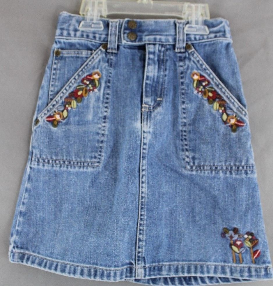 Osh Kosh Denim Skirt Fall Embroidered Flowers Size 6 #OshKoshBgosh