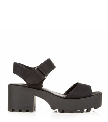 8282fc3d0ce These Black Chunky Cleated Sole Block Heel Sandals! Lush! My summer ...