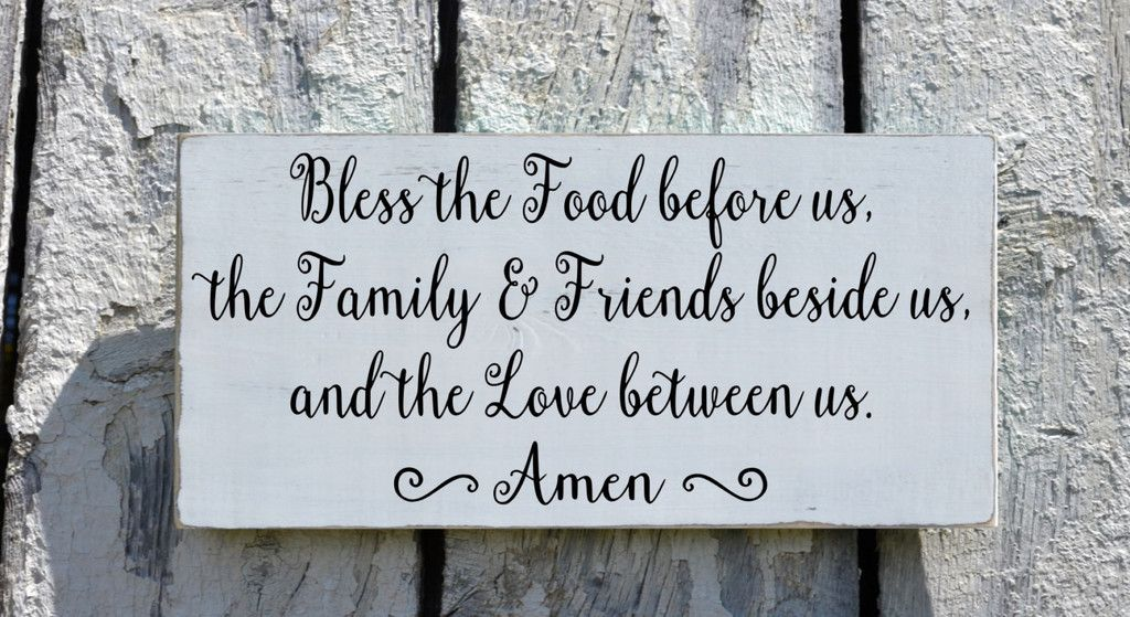 Kitchen Sign Wall Hanging Art Dining Room Decor Hand Painted Bless The Food Before Us Wood Plaque Scripture Prayer Religious Family Blessing