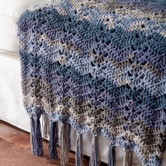 Caron® Big Cakes™ Ocean Waves Crochet Blanket in Nightberry ...