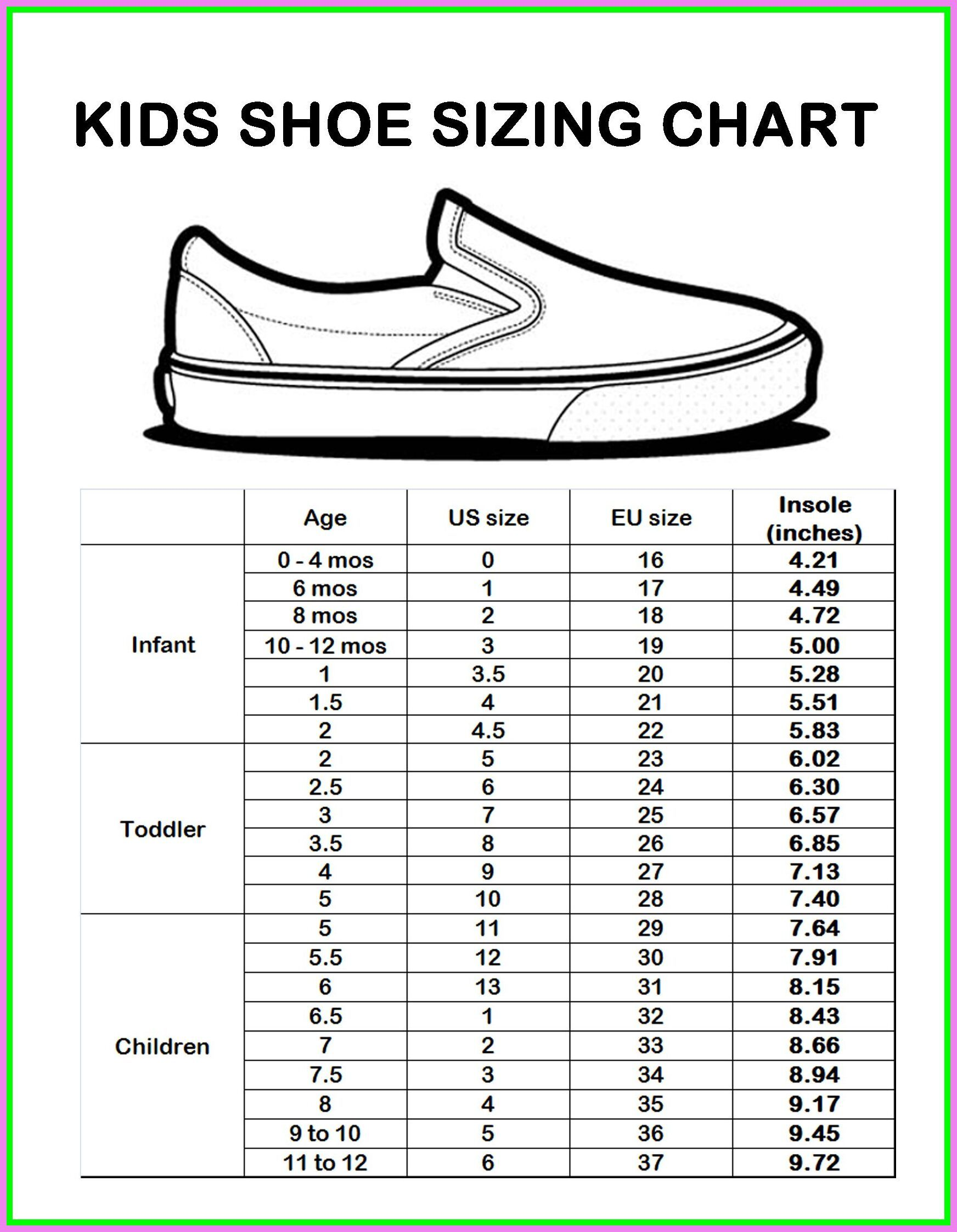childrens shoe sizes in cm