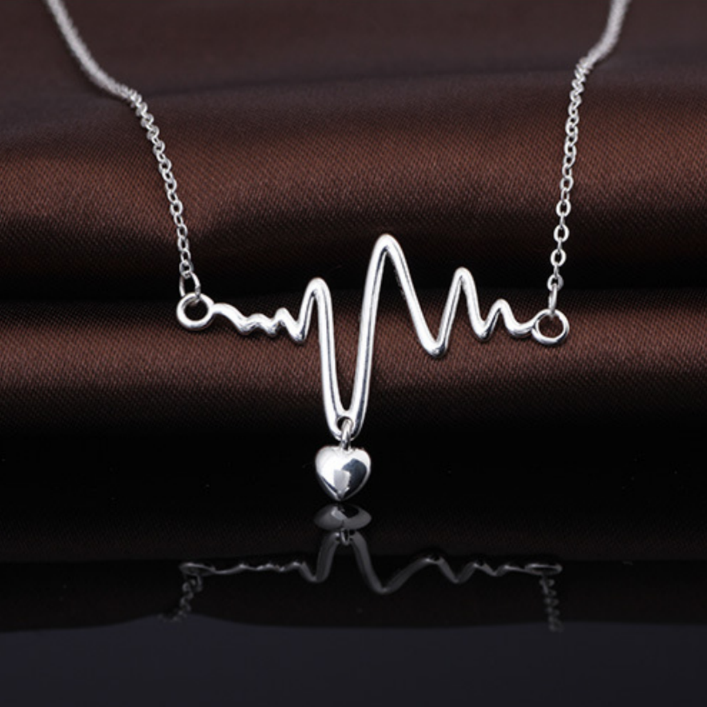 Heartbeat Pulse Heart Pendant Necklace Medical 925 Sterling Silver Woman Gift