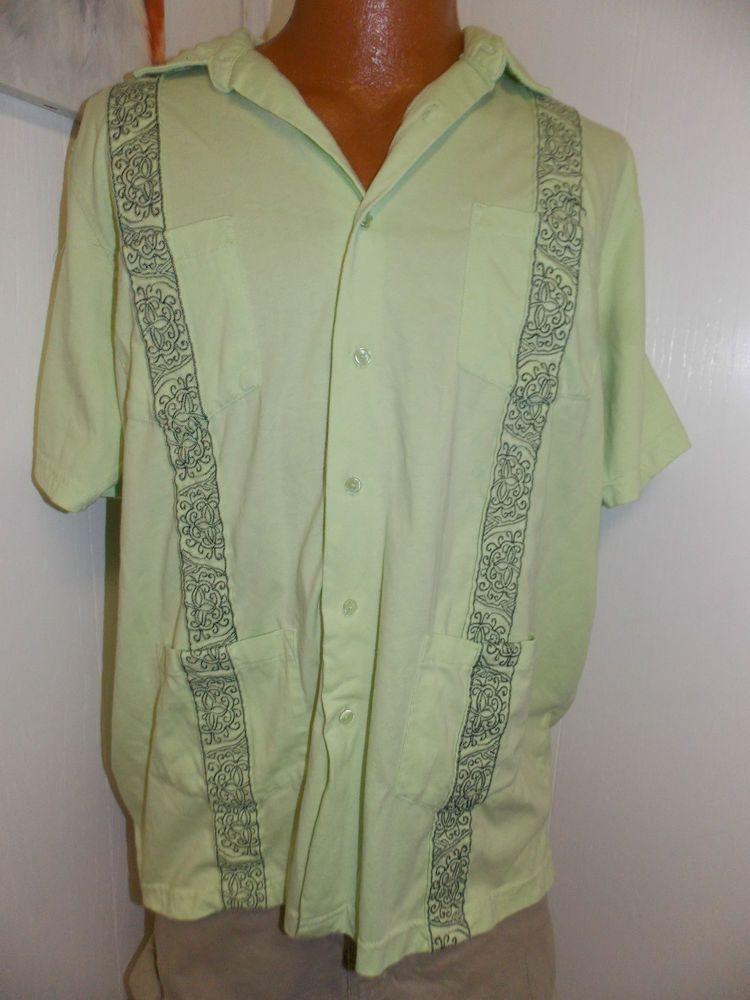 01233ce5 Vintage Haband Guayabera Wedding Shirt Cuban Cigar Lime Green Size Large # Haband #casual