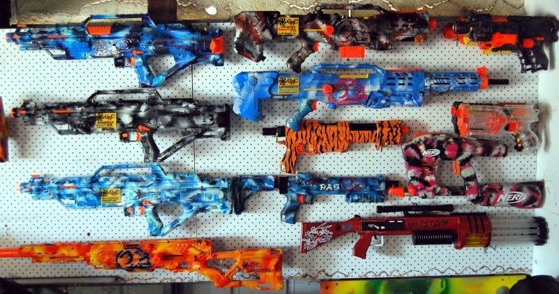 Modified Nerf Guns And Rack