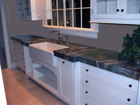 Blue Louise Granite Countertop With A Farm Sink I Really Like The Thickness Luise Blue