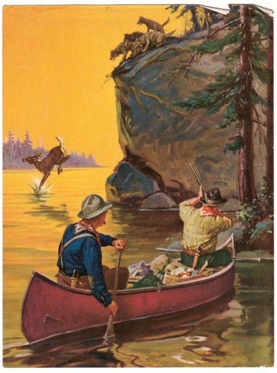 Vintage Calendar Art : Vintage canoe art calendar print c