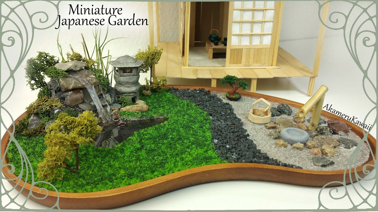 Miniature Japanese Inspired Garden W Working Lantern Tutorial Japanese Garden Miniatures Mini Garden