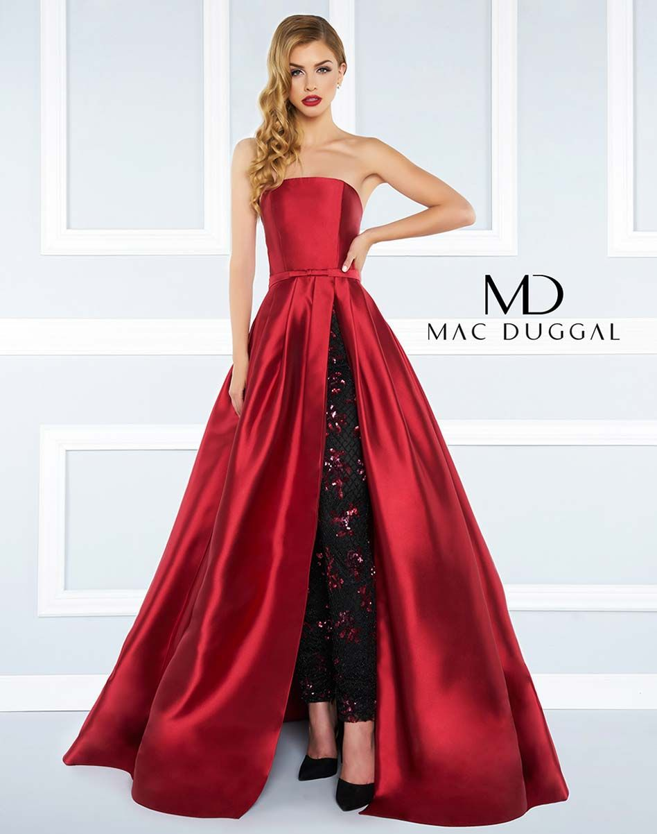 15461cdb6e Burgundy strapless, ball gown with pleated skirt and beaded skinny pant.
