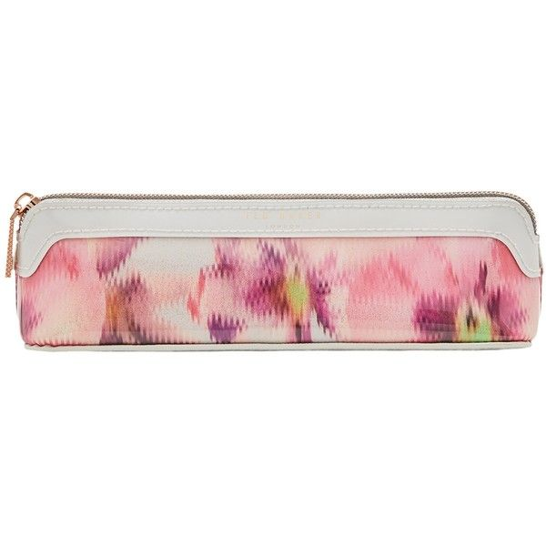 Ted Baker Merri Expressive Pansy Pencil Case, Light Grey ($28) ❤ liked on Polyvore featuring home, home decor, office accessories, zipper pencil case, ted baker, zipper pencil pouch and zip pencil case
