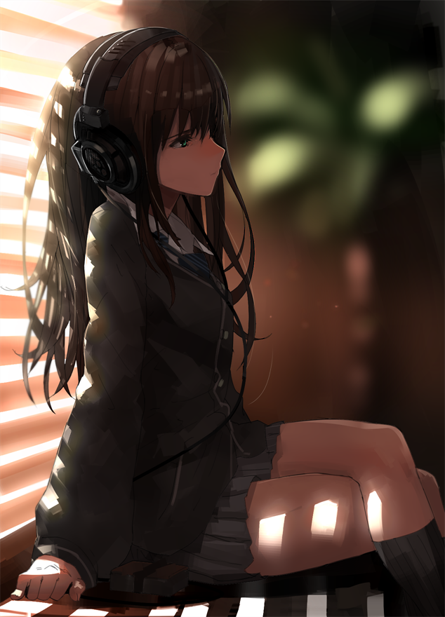 ANIME ART music. . .listening to music. . .school uniform
