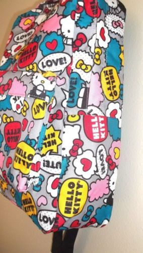 Hello-Kitty-by-Lounge-Fly-Fun-Multicolor-Canvas-Print-Backpack-authentic-Sanrio
