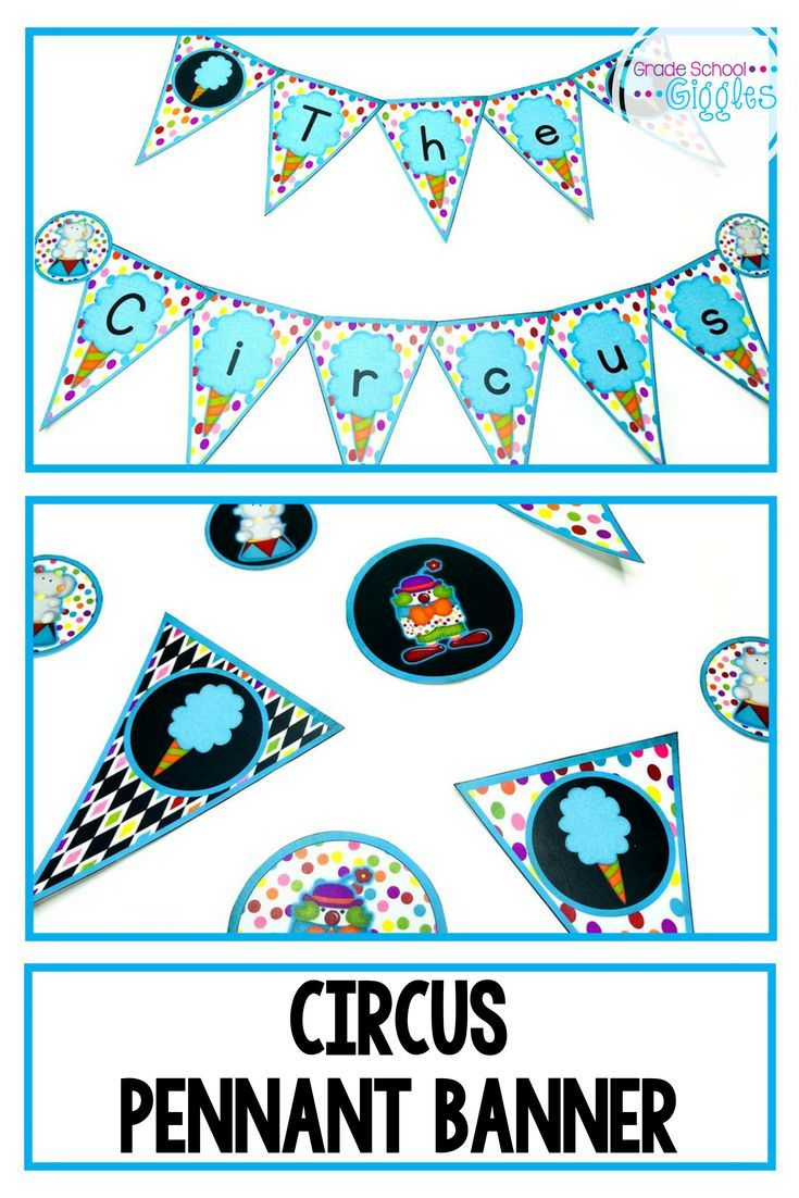 Circus Theme Banner These pennant banner letters are a perfect decoration for any circus themed cla
