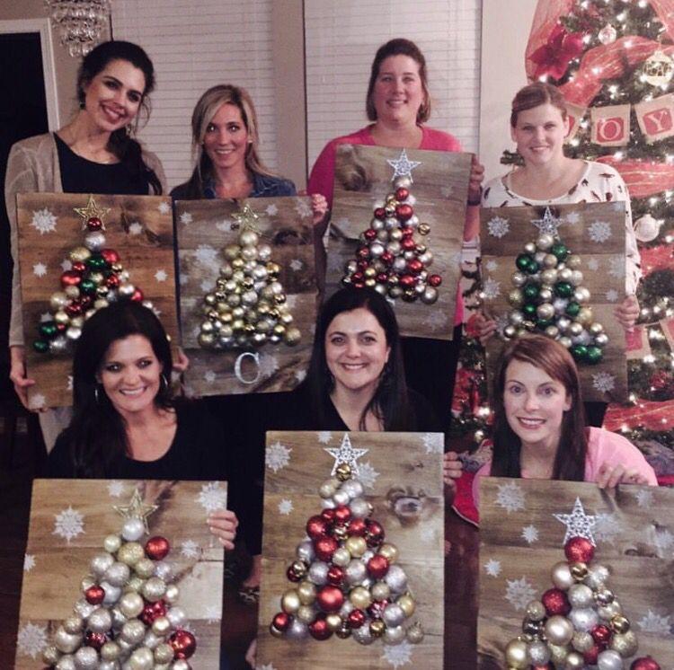 Fun girls craft night project Wooden christmas