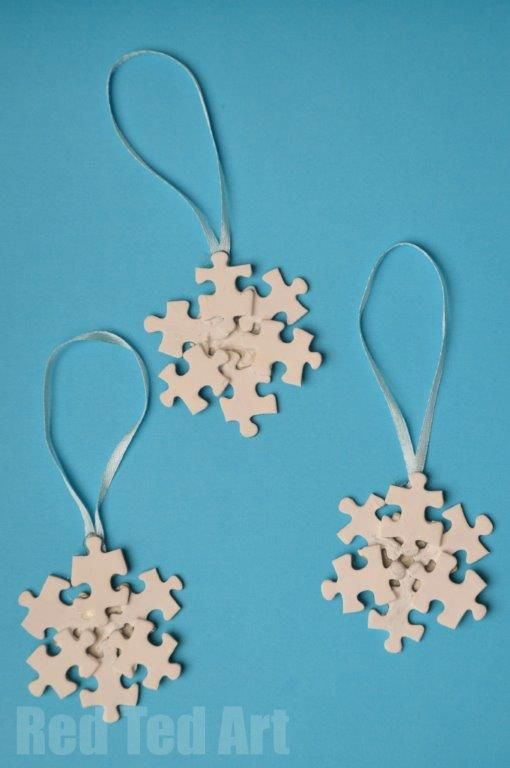 Schneeflocken aus Puzzleteilen #snowflakes #schneeflocken #basteln #selbstgemacht #puzzle
