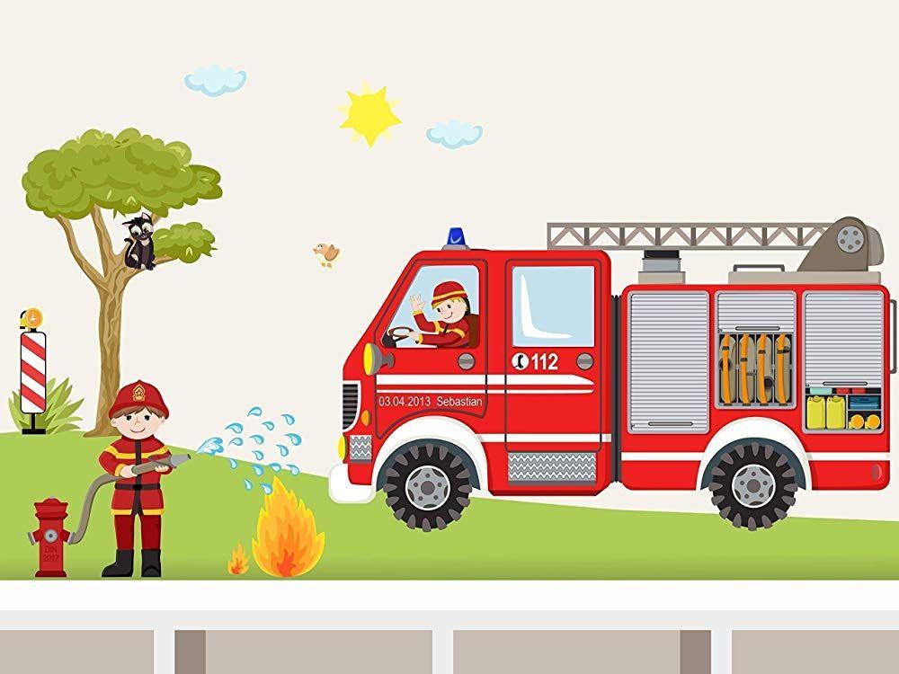 """Wandtattoo""""Feuerwehr SET"""" Wandaufkleber mit Feuerwehrwagen"""
