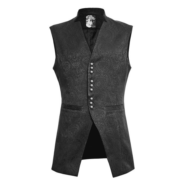 Punk Men Slim-Fitting Waistcoats With Pockets Gothic Black V-Neck Vest Retro Sleeveless Waistcoats Single Breasted Vest For Male