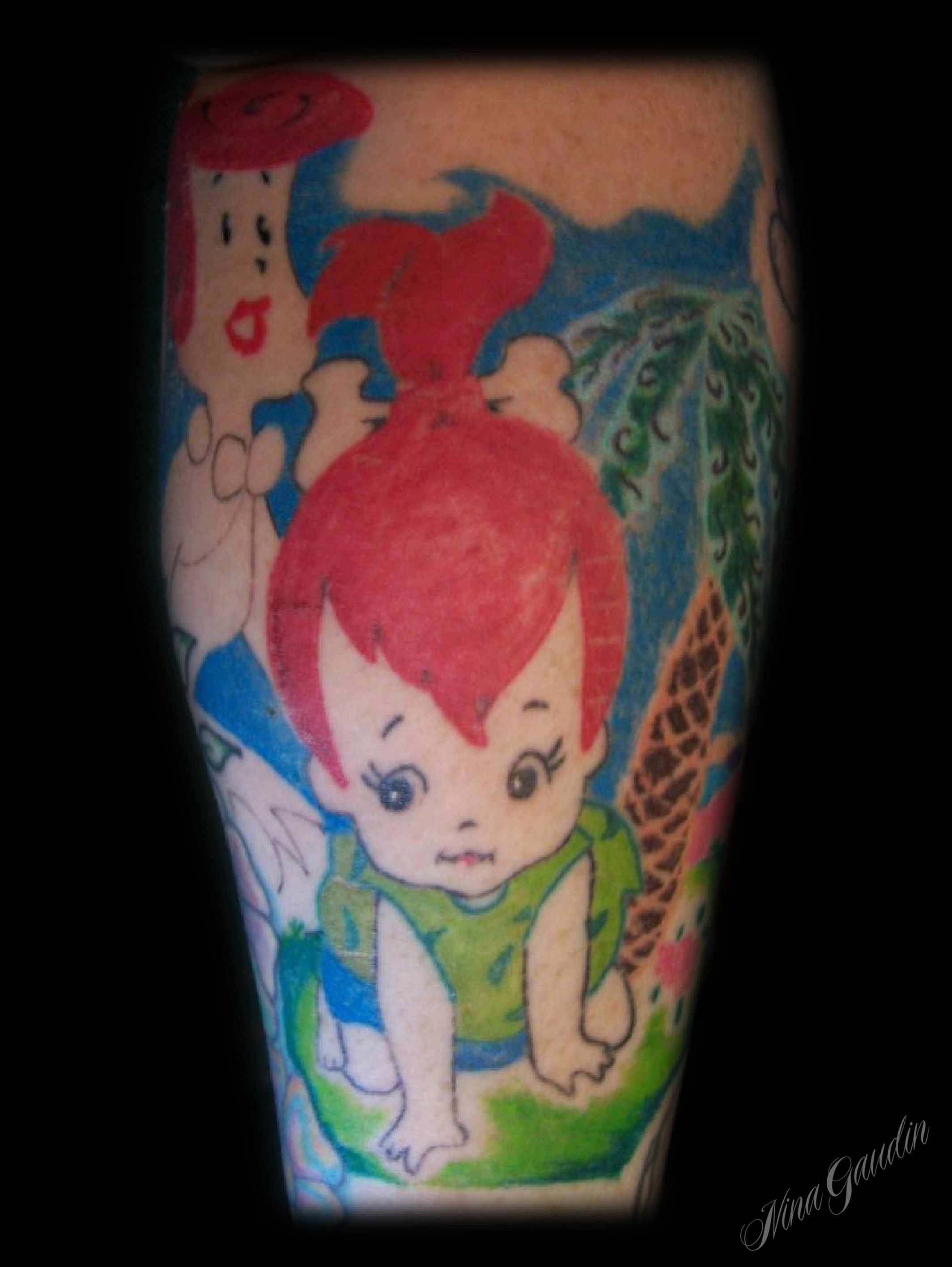 Wilma and Pebbles Flintstone mother daughter color leg calf ... - Tattoo Studio Freiburg