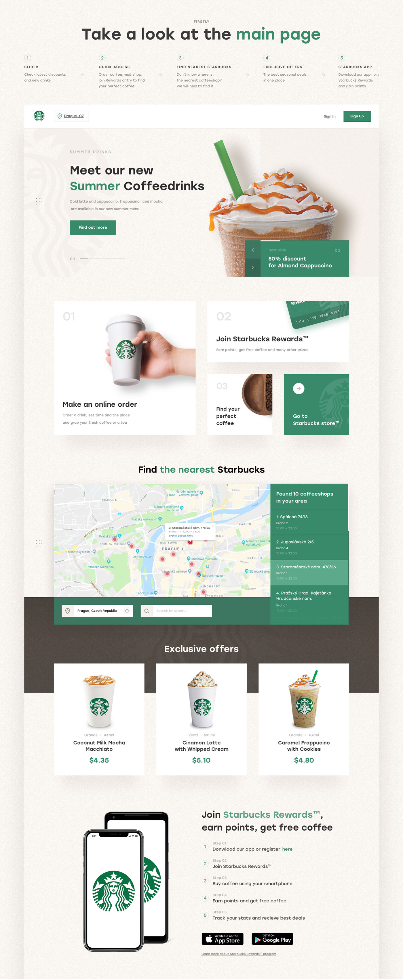 Starbucks Redesign Ux Ui On Behance Website Design Ideas And