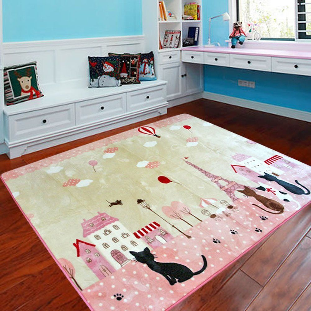 Memorecool Cute Cats And Cartoon House Carpet Eiffel Tower Area Rugs Anti Slip Bedroom Living Room Baby Crawling Mats Pink Green Play Mat Find Out