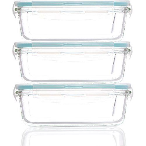 Glass Food Storage Containers With Locking Lids Finedine Superior Glass Meal Prep Food Storage Containers 3 Pack