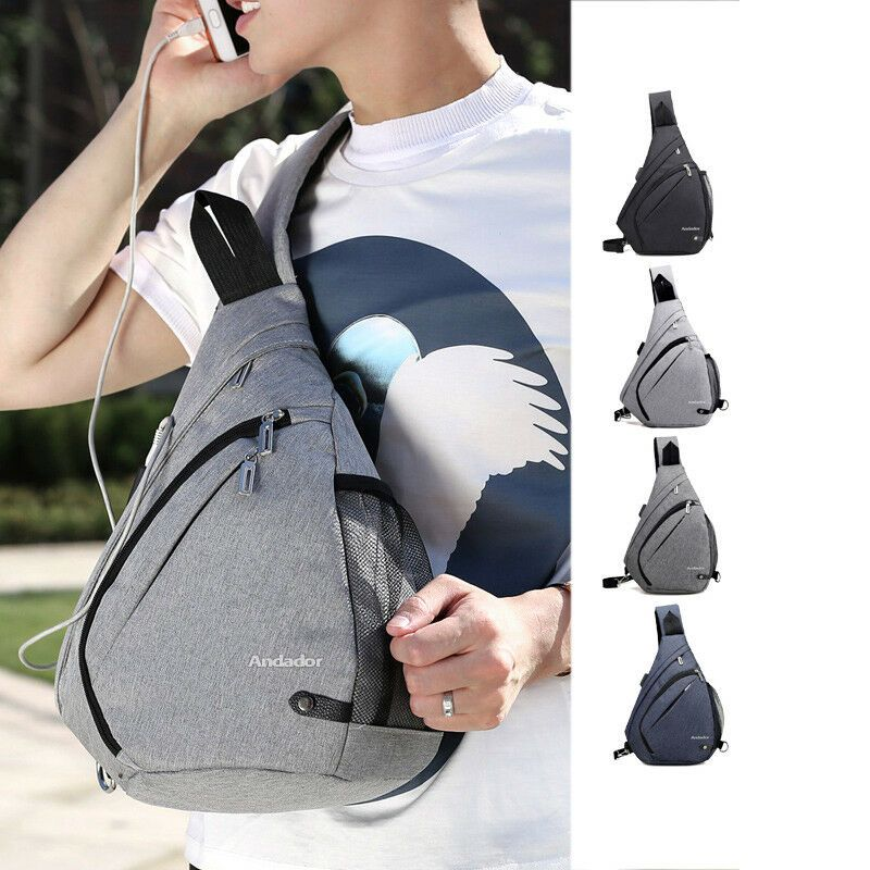 Mens USB Charging Sling Shoulder Backpack Chest Bag Cross Body Messenger Outdoor