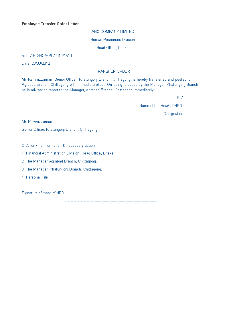 Employee Transfer Order Letter Format How To Create An Employee Transfer Order Letter Format Download This Emp Lettering Transfer Letter Format Order Letter