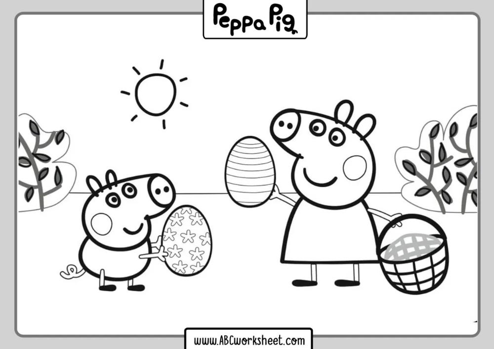 printable peppa pig coloring sheets  malvorlagen ostern