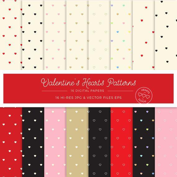 Valentines Day Digital Paper Hearts Patterns  Background Instant Download Romantic Love Pastel Valentine Card Printables