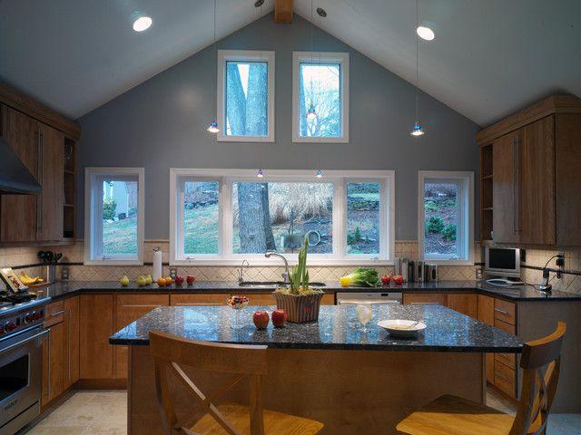 Black granite hickory cabinets grey walls house design