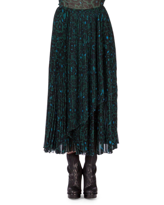 bae7558131 Shadow Flower Long Pleated Skirt, Bottle Green, Women's, Size: 42 ...