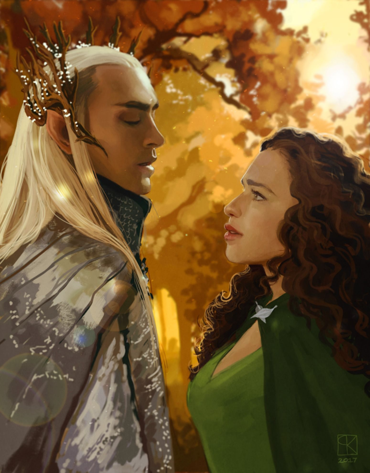This is a scene from the Thranduil fanfic, Stars of Varda. Art is by Lucy Plowe, or masseffxt, on Tumblr. Read the story here! https://www.fanfiction.net/s/11794620/1/Stars-of-Varda https://www.wattpad.com/221597631-stars-of-varda-an-elven-love-story-thranduil-1