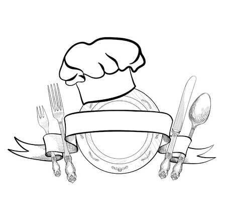 Chef Kok Hoed Met Vork Lepel Mes En Plaat Hand Tekening Schets Label Bestek Icoon Vector Catering En Restaurant Service Insigne Restaurant Symbool Chef Kok Drawing Sketches How To Draw Hands Kitchen Logo