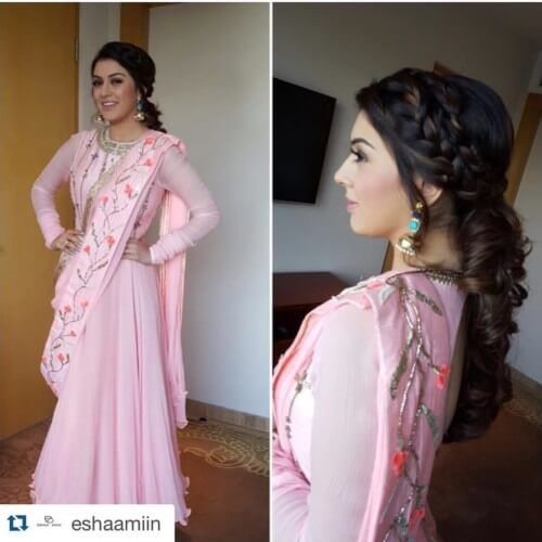 Hansika Motwani Side Braided Hairstyles Bollywood Hairstyles Celebrity Dresses Stylish Sarees