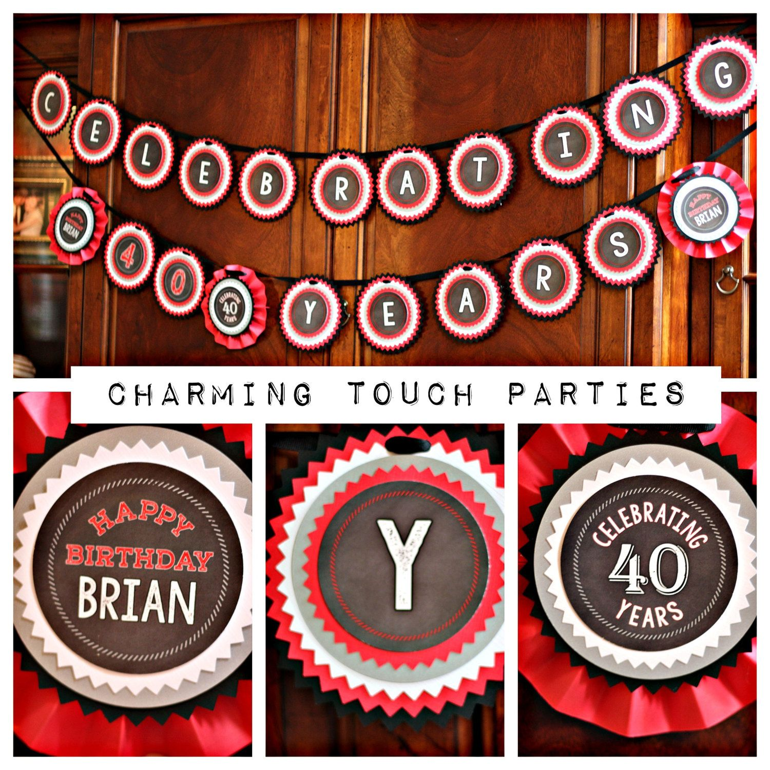 40th Birthday Party banner.  Celebrating 40 Years by Charming Touch Parties.  Black / Red / Grey / Chalkboard.  Customizable. by CharmingTouchParties on Etsy