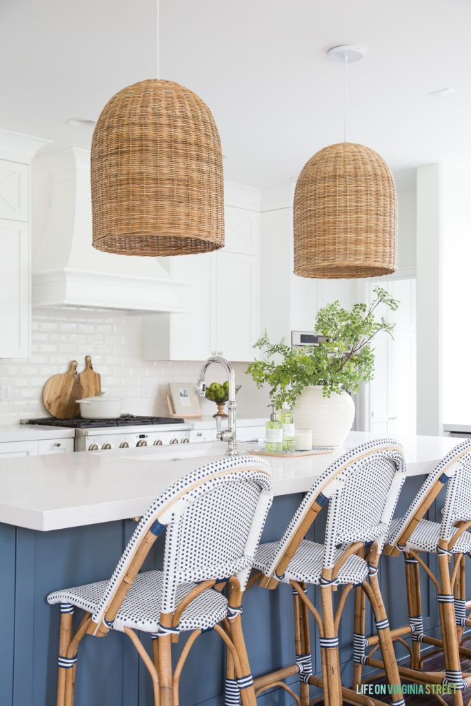 A coastal kitchen with beachy accents including