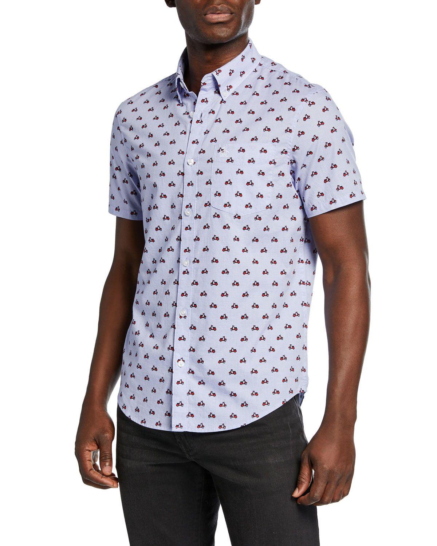 Men's Printed Vespa Sport Shirt In White Sports shirts