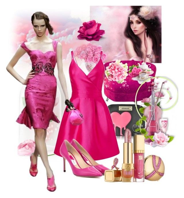"""Pink"" by mexarchopoulou ❤ liked on Polyvore featuring Love Moschino, Miss Selfridge and Jimmy Choo"