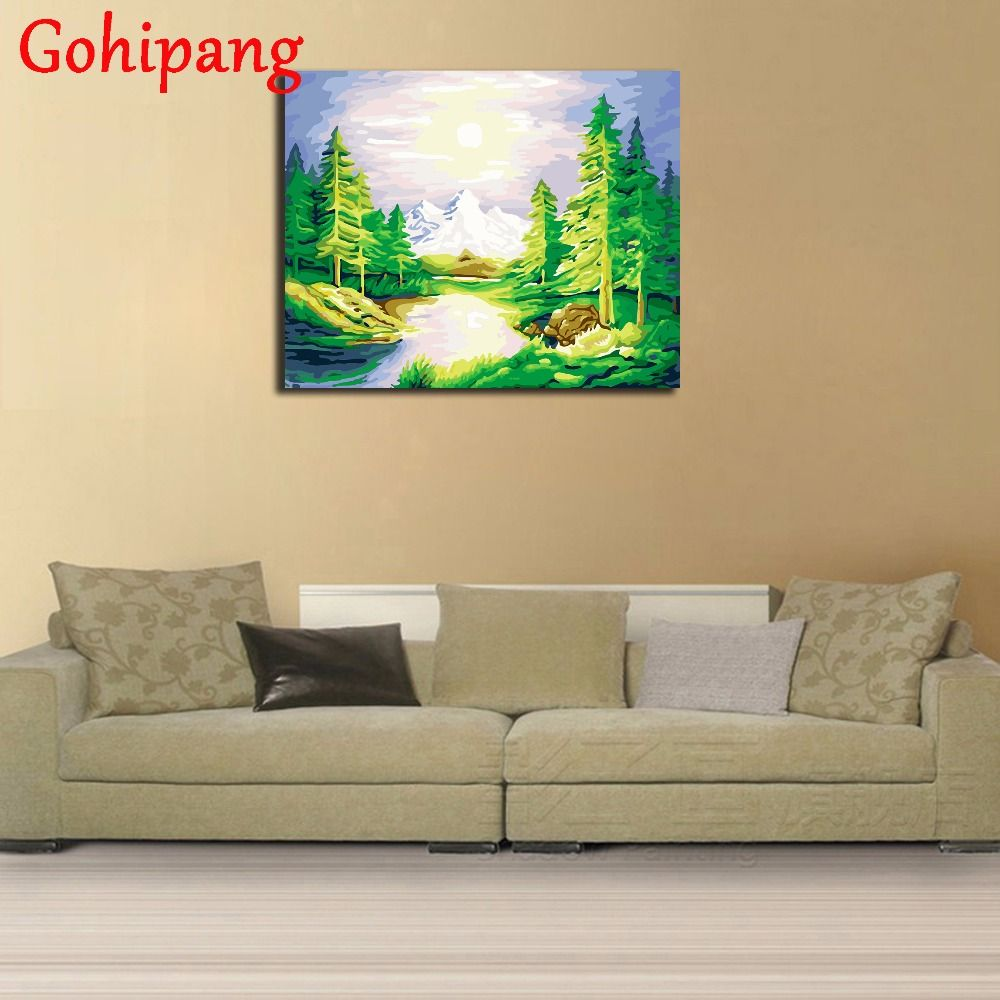 buy diy green lake landscape digital oil painting on canvas pictures ...