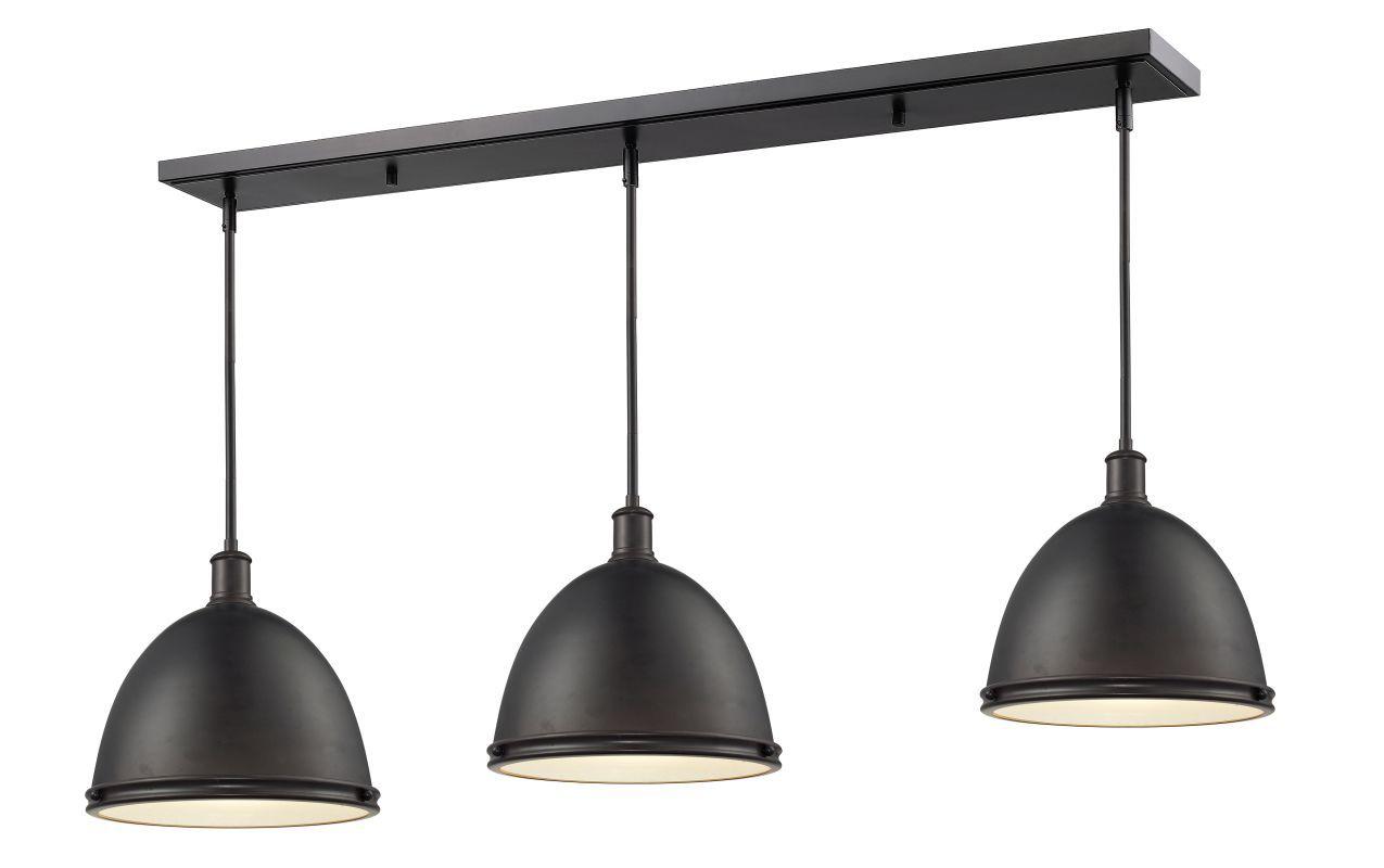 Z-Lite 708P13-3 Mason 3 Light Billiard / Island Chandelier with Metal Warehouse Bronze Indoor Lighting Chandeliers