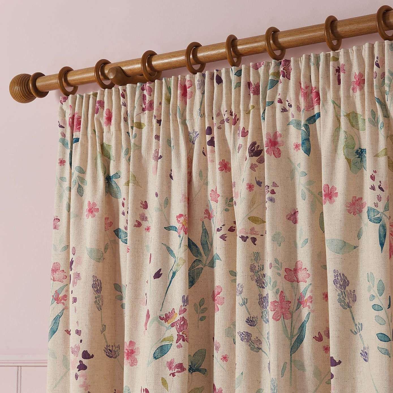 Botanical Lavender Floral Pencil Pleat Curtains